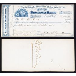 """ Boss "" Tweed Autograph on National Broadway Bank Draft."