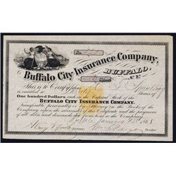 Buffalo City Insurance Co. Stock Certificate With I.R. RN-T4 and William Fargo Autograph.