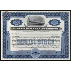 Gillette Safety Razor Co. Specimen Stock Certificate.