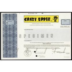 Crazy Eddie Specimen Stock Certificate - Well Known Scam.