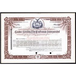 Gustav Stickley The Craftsman Inc. Specimen Stock Certificate.