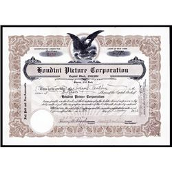 Houdini Pictures Corp. Autographed Stock Certificate by Harry Houdini.