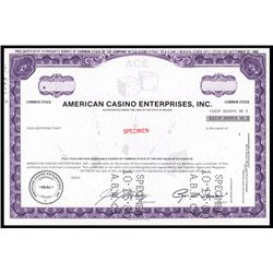 American Casino Enterprises Inc. Specimen Stock.
