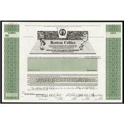 Boston Celtics Specimen Limited Partnership Interest Certificate.