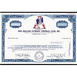 New England Patriots Football Club, Inc. Specimen Stock Certificate.