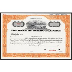 Bank of Bermuda, Ltd. Specimen Stock Certificate.