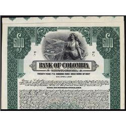 Bank of Colombia Specimen Bond.