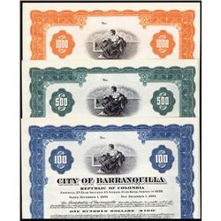 City of Barranquilla, 1939 Issue, Specimen Bond Trio.