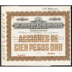 El Banco Espanol, de la Isla de Cuba Specimen Stock.