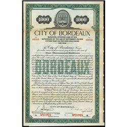 City of Bordeaux Loan of 1919 Specimen Bond.