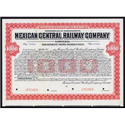 Mexican Central Railway Co. Specimen Bond.