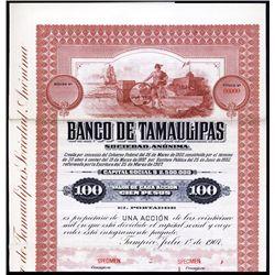 Banco de Tamaulipas Specimen Bond.