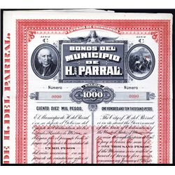 Bonos del Municipio de H. del Parral Specimen Bond.