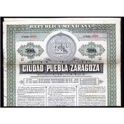 Bonos Del Honorable Ayuntamiento del la Ciudad de Puebla de Zaragoza Specimen Bond.