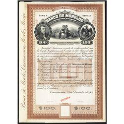 Banco De Morales, 1903 Specimen Bond.