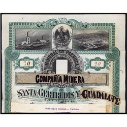 Campania Minera De Santa Gertrudis Y Guadalupe Unique Mock Up Bond.