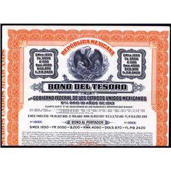 Bono del Tesoro 1,950 Pesos 1913 Specimen Bond.