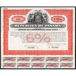 Republica De Panama, 1933 Issue Bonos de Conversion Specimen Bond.