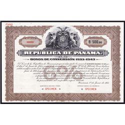 Republica De Panama, Bonos De Conversion 1933-1943 Specimen Bond.