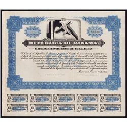 Republic De Panama - Bonos Olimpicos De 1937-42 Specimen Bond.