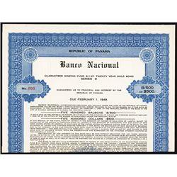 Banco Nacional, Republic of Panama, Specimen Bond.