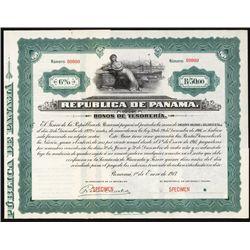 Republica de Panama, Bonos de Tesoreria, Specimen Bond.