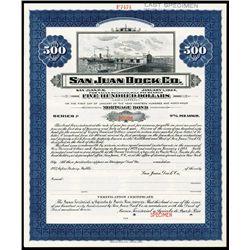 San Juan Dock Co. Specimen Bond.