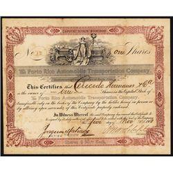 The Porto Rico Automobile Transportation Co. Stock Certificate.