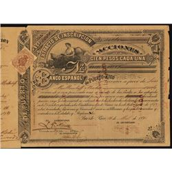 El Banco Espanol de Puerto Rico Issued Stock Certificate.