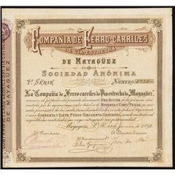 Puerto Rico Railroad Bond From 1898.