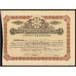 Banco Comercial de Puerto Rico Stock Certificate.