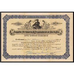 Compania Ferroviaria de Circunvalacion de Puerto Rico Stock Certificate.