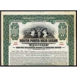 South Porto Rico Sugar Co. Specimen Bond.