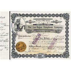 Las Vegas Telephone Company Stock Certificate.