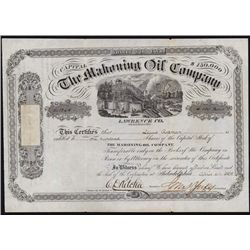 Mahoning Oil Company Stock Certificate.