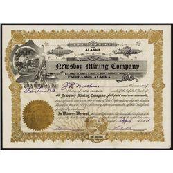 Newsboy Mining Co. Alaska Stock Certificate.