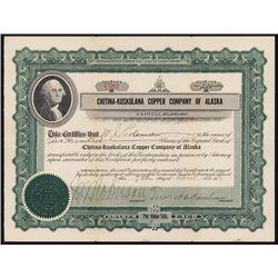 Chitna-Kuskulana Copper Company of Alaska Stock Certificate.