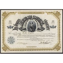 The Los Angeles Mining & Smelting Company Stock Certificate.