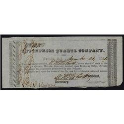 Enterprise Quartz Company, 1851 California Gold Rush Mining Stock Certificate.