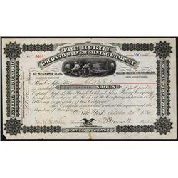 Hukill Gold & Silver Mining Co., 1880, Spanish Bar, Clear Creek Stock.