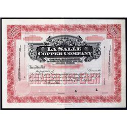La Salle Copper Company, Specimen mining Stock Certificate.