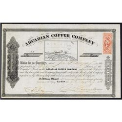 Arcadian Copper Company 1865 Mining Stock Certificate.