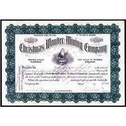 Christmas Wonder Mining Stock Certificate.