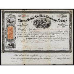 Elmira silver Bullion Co. of Nevada Territory Stock Certificate.