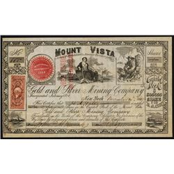 Monte Vista Gold and Silver Mining Co., Nevada Stock Certificate.