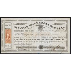 Canadian Gold & Silver Mining Co. 1863 Nevada Territory Stock Certificate.