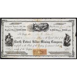North Potosi Silver Mining Co. 1864 Nevada Territory Stock Certificate.