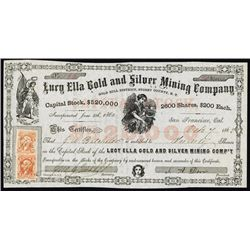 Lury Ella Gold and Silver Mining Co., Nevada Territory Stock Certificate.
