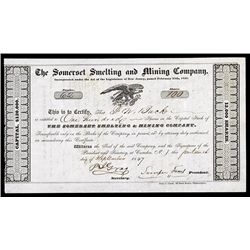 Somerset Smelting and Mining Co. 1847 Stock Certificate.
