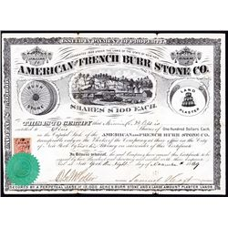American and French Burr Stone Co. Stock Certificate.